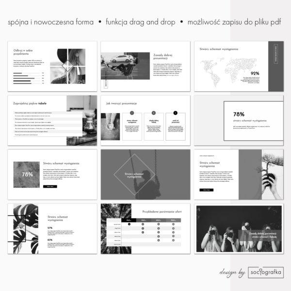 Czarno-biały wzór prezentacji powerpoint