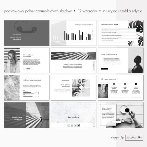 czarno-bialy szablon prezentacji powerpoint